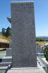 森田正馬の墓石の、向かって左側面から始まって、背面、向かって右側面へと、長文の経歴が墓碑銘として細かく彫り込まれている。まず、この画像は、向かって左側面の写真である。画像を拡大すると、ある程度その文字を読むことができる。